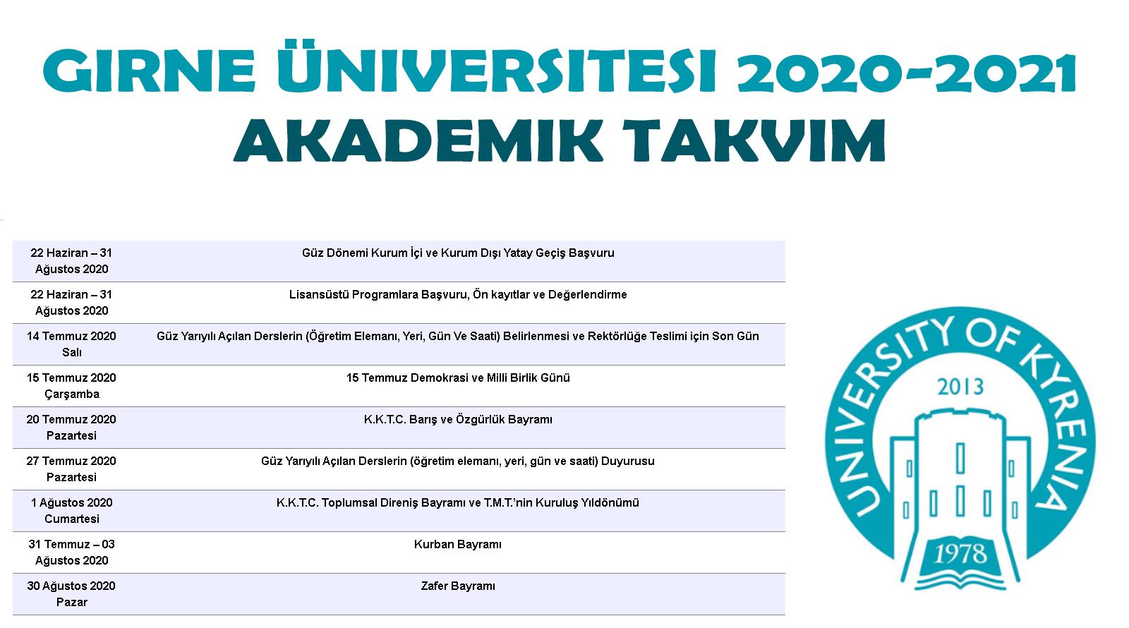 Girne üniversitesi Akademik Takvim